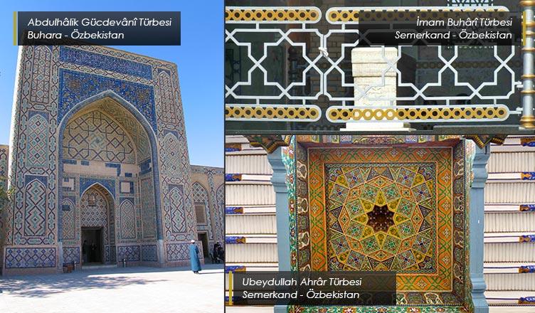 sekiz köşeli yıldız motifinin özbekistanda kullanılan mimari eserler